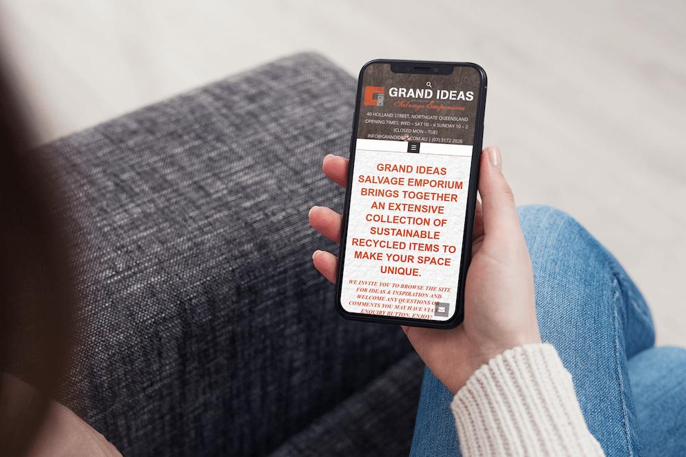 Grand Ideas website iphone